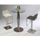 Pastel Furniture 3pc Alexandria Pub Set with Adijon Hydraulic Barstool in Stainless Steel