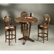 Pastel Furniture 3pc Devon Coast Pub Set with Swivel Barstool in Distressed Cherry