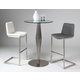 Pastel Furniture 3pc Alexandria Pub Set with Buxton Barstool in Stainless Steel