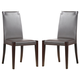 J&M Colibri Dining Chair in Dark Oak w/ Chocolate Leather (Set of 2)