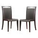 J&M Modern Dining Chair in Dark Oak w/ Chocolate Leather (Set of 2)