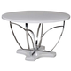 Acme Furniture Ezra Round Dining Table in White and Chrome 71245