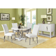 Acme Furniture Ezra 6 Piece Round Dining Set in White and Chrome