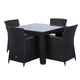 Source Outdoor St. Tropez 5pc Square Dining Set in Espresso
