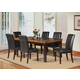 Acme Furniture Deisy 7 Piece Rectangular Marble Dining Set in Espresso