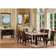 Acme Furniture Fraser 8 Piece Rectangular Marble Dining Set in Dark Brown