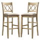 Mestler Upholstered Counter Stools in Antique White (Set of 2) D540-224