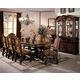 Crown Mark Neo Renaissance 7pc Double Pedestal Dining Set in Warm Brown