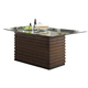 Crown Mark Micah Dining Table with Glass Top in Medium Brown 1250T-4272