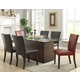 Crown Mark Micah 7 Piece Glass Top Dining Set in Medium Brown