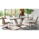 ESF Furniture 2135/6101 7-Piece Dining Room Set in Beige Tan