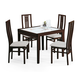 ESF Furniture Poker 90 5-Piece Dining Room Set in Wenge