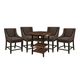 Moriann 5-Piece Round Dining Room Counter Table Set in Dark Brown