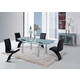 Global Furniture D88 5-Piece Dining Room Set in Silver/Black