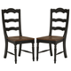 Intercon Furniture Princeton Ladderback Side Chair in Black and Walnut (Set of 2)