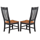 Intercon Furniture Rustic Mission Curved Slat Back Side Chair in Rustic/Black (Set of 2)