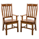 Intercon Furniture Rustic Mission Curved Slat Back Arm Chair in Rustic (Set of 2)