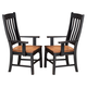 Intercon Furniture Rustic Mission Curved Slat Back Arm Chair in Rustic/Black (Set of 2)