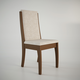 Manhattan Comfort Florence Dining Chair in Nut Brown and Beige Fabric (Set of 2)
