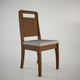Manhattan Comfort Ferry Dining Chair in Nut Brown and Grey Fabric (Set of 2)
