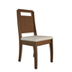 Manhattan Comfort Ferry Dining Chair in Nut Brown and Beige Fabric (Set of 2)