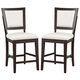 Alpine Furniture Midtown Counter Height Chairs with White Cushions (Set of 2) in Espresso 581-04W