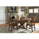 John Thomas Furniture Canyon 5-Piece Extension Pedestal Dining Room Set in Pecan