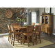 John Thomas Furniture Canyon 7-Piece Extension Pub Dining Room Set in Pecan