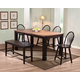 ECI Furniture Acacia 6-Piece Rectangular Leg with Adjustable Filler Dining Set in Walnut