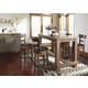 Pinnadel Rectangular Dining Bar Table Set in Light Brown