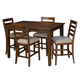 A-America Westlake 5-Piece Square Gathering Height Set in Cherry Brown