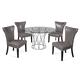 Bassett Mirror Thoroughly Modern 5-Piece Mercer Round Dining Set in Chrome
