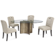 Bassett Mirror Thoroughly Modern 5-Piece Symmetry Oval Dining Set in Chrome