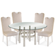 Bassett Mirror Thoroughly Modern 5-Piece Contour Round Dining Set in Chrome
