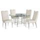 Bassett Mirror Thoroughly Modern 5-Piece Cristal Round Dining Set in Acrylic/ Chrome