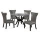 Bassett Mirror Thoroughly Modern 5-Piece Sullivan Round Dining Set in Cappuccino