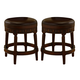 North Shore Tall Upholstered Swivel Stool in Dark Brown D553-030 (Set of 2)