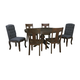 Trudell 7-Piece Round Extension Pedestal Dining Set in Dark Brown