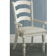 Hillsdale Pine Island Ladder Back Arm Chair in Old White 5265-804 (Set of 2)