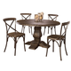 Hillsdale Furniture Lorient 5pc Round Dining Set in Washed Charcoal Gray