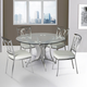 Armen Living Drake 5-Piece Dining Set in Stainless Steel