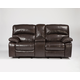 Damacio Glider Recliner Loveseat w/ Console in Dark Brown U9820043 SPECIAL