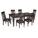 Haddigan 7-Piece Rectangular Dining Set in Dark Brown