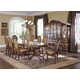 AICO Lavelle Melange 7-pc Oval Pedestal Dining Table Set in Warm Brown