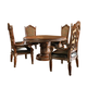 AICO Villa Valencia 5-pc Round Dining Table Set in Classic Chestnut