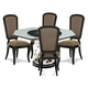 Aico After Eight 5pc Round Dining Table with Octagonal Shaped Glass Top Dining Set in Titanium