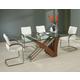 Pastel Furniture Akasha 5 pcs Dining Table Set in Walnut AK-512-7042-AK-117-WA