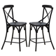 Liberty Furniture Vintage Dining Series X-Back Counter Chair in Black (Set of 2) 179-B300524-B