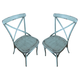 Liberty Furniture Vintage Dining Series X-Back Counter Chair in Blue (Set of 2) 179-B300524-BL