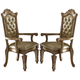 Acme Vendome Arm Chair (Set of 2) in Gold Patina 63004 SPECIAL